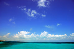 Caribbean sea. Caribbean blue sky and blue sea stock photography