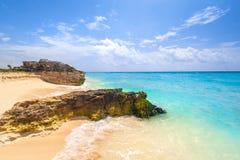 Caribbean Sea beach in Playa del Carmen. Mexico Stock Photos