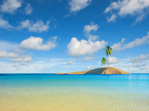 Caribbean sea with coconut palm. Caribbean sea and coconut palm in the island stock images