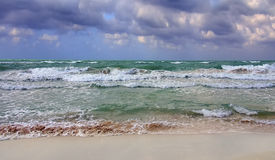 The Caribbean Sea. Cuban sea.  Beautiful sea green.  Strong current and waves along the coast line of Varadero.  Waves, ocean, sea green, beach, holiday, Cuba Royalty Free Stock Photo