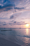 Caribbean Sea at Dawn. Image taken from one of the beaches in Aruba (Palm Beach) showing the Caribbean Sea at dawn Stock Photography