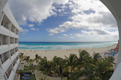 Caribbean sea. Fish eye view from the balcony of hotel on the coast of Caribbean sea, Cancun, Mexico Royalty Free Stock Image