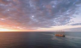 Caribbean sea - Grenada island - Saint George`s - Sunset. Ang sail boat stock photo