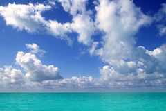 Caribbean sea horizon on blue sky vacation day Royalty Free Stock Photo