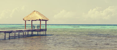 Caribbean sea with hut - panorama Royalty Free Stock Images