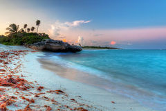Caribbean Sea at magical sunset. Amazing sunset at Caribbean Sea in Mexico Royalty Free Stock Photos