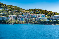Caribbean Sea Meets Luxury Living. Image taken from a boat on a trip from St. Thomas to St. Johns  Random coastline along St. Thomas island Royalty Free Stock Photos