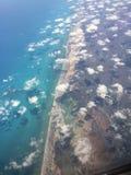Caribbean sea. Ocean meets land, clouds stock images