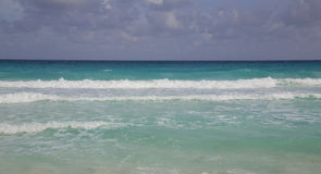 Caribbean Sea. With rainy clouds before a tropical storm - Cancun, Mexico royalty free stock photo