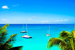 Caribbean Sea Sailboats. Sailboats on the Caribbean sea Stock Photography