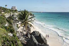 Caribbean Sea and Sandy Beach. The blue-green Caribbean Sea and beach below the ancient Mayan ruins near Tulum, Mexico Royalty Free Stock Photography
