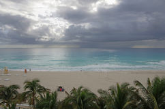 Caribbean sea. Stormy clouds over Caribbean sea, Cancun, Mexico Royalty Free Stock Photography