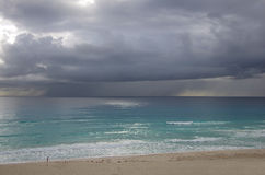 Caribbean sea. Stormy clouds over Caribbean sea, Cancun, Mexico Stock Images