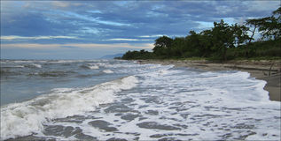 Caribbean sea, stormy weather, sea with waves and beach view, Honduras, La Ceiba. Resort stock image
