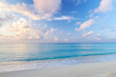 Caribbean Sea at sunrise. Idyllic beach of Caribbean Sea at sunrise, Mexico Stock Photos