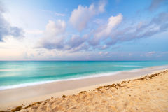 Caribbean sea at sunrise. Caribbean beach in Playacar of Mexico stock photography