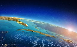 Caribbean sea sunrise. Elements of this image furnished by NASA. 3d rendering royalty free stock photo