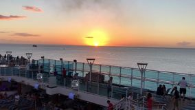 Caribbean Sea Sunset from Cruise Ship stock video
