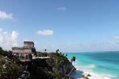 Caribbean sea and tulum ruins royalty free stock images