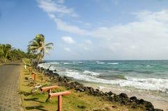 Caribbean Sea waterfront Sally Peach Beach Big Corn Island Nicar. Undeveloped Sally Peach beach palm trees on Caribbean Sea with bench seats coconut trees Big Stock Photo