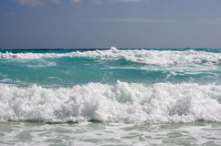 Caribbean sea. The waves of Caribbean sea, Cancun, Mexico Royalty Free Stock Images