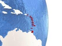 Caribbean on shiny globe with water Stock Photos