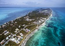 Caribbean side of Isla Mujeres - Aerial View. Crystal clear blue water of the Caribbean off the coast of Isla Mujeres, Quintana Roo, Mexico royalty free stock photography