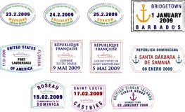 Caribbean and South American Passport Stamps. A collection of stylised vector South American and Caribbean passport stamps on a white background Royalty Free Stock Photography