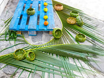Caribbean souvenirs - wicker vases of palm leaves - handmade work Royalty Free Stock Photos