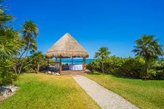 Caribbean spa on the beach in Mexico Royalty Free Stock Image