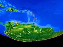Caribbean from space on Earth royalty free illustration