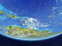 Caribbean from space on Earth. Caribbean on realistic model of planet Earth with country borders and very detailed planet surface and clouds. 3D illustration vector illustration