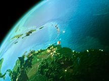 Caribbean from space in evening. Evening over Caribbean as seen from space on planet Earth. 3D illustration. Elements of this image furnished by NASA Royalty Free Stock Photos