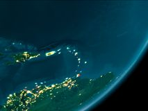 Caribbean from space at night royalty free stock image