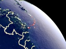Caribbean from space. Caribbean at night from orbit. Plastic planet surface with visible city lights. 3D illustration. Elements of this image furnished by NASA stock illustration