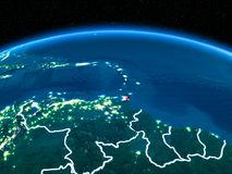 Caribbean from space at night stock photos