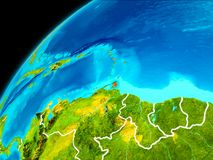 Caribbean from space. Orbit view of Caribbean highlighted in red with visible borderlines on planet Earth. 3D illustration. Elements of this image furnished by Royalty Free Stock Photography