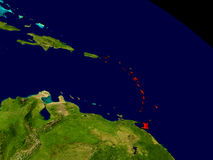 Caribbean from space. In red. 3D illustration with highly detailed realistic planet surface. Elements of this image furnished by NASA Royalty Free Stock Images