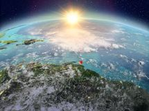 Caribbean from space in sunrise stock illustration