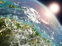 Caribbean from space during sunrise vector illustration