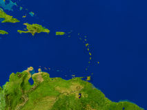 Caribbean from space. Top-down view of Caribbean as seen from Earth's orbit in space. 3D illustration with highly detailed realistic planet surface. Elements of Royalty Free Stock Photo