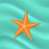 Caribbean Starfish on Azure  Background. Plenty of Cushion Starfish on a  Ocean Floor. Caribbean Starfish on Azure  Background Royalty Free Stock Photo