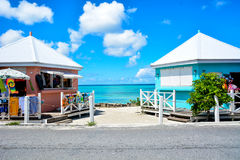 Caribbean stores. Two stores right by the ocean in the Caribbean Stock Photos
