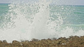 Caribbean stormy sea in slow-motion , Dominican Republic. Juan Dolio stock video