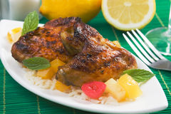 Caribbean style grilled chicken wings Stock Photos