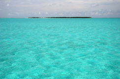 Caribbean summer resort. Shoal turquoise ocean water with island in background. Caribbean sea. Belize Stock Photo