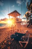 Caribbean summer vacation, beautiful sunrise over tropical beach. In Punta Cana, Dominican Republic Royalty Free Stock Photography