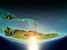 Caribbean with sun on planet Earth. Caribbean from orbit of planet Earth in sunrise with highly detailed surface textures and visible country borders. 3D Royalty Free Stock Image