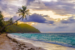 Caribbean Sunrise. Purple and orange sky of sunrise on a beach in San Andres y Providencia, Colombia Stock Image