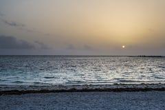 Caribbean Sunrise. On sandy beach Stock Photos